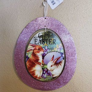 Easter Realistic Bunnies Spinner Sign Glitter Egg